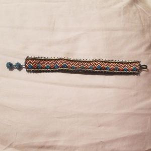 Adjustable Aztec pattern cloth bracelet